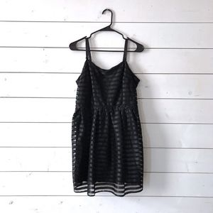 H&M Black Satin Mesh Striped Fit & Flare Dress